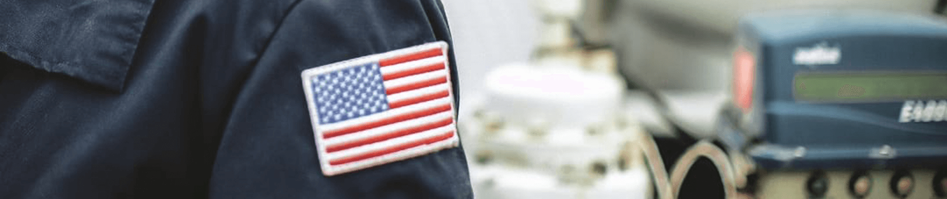 Worker with American Flag on Sleeve